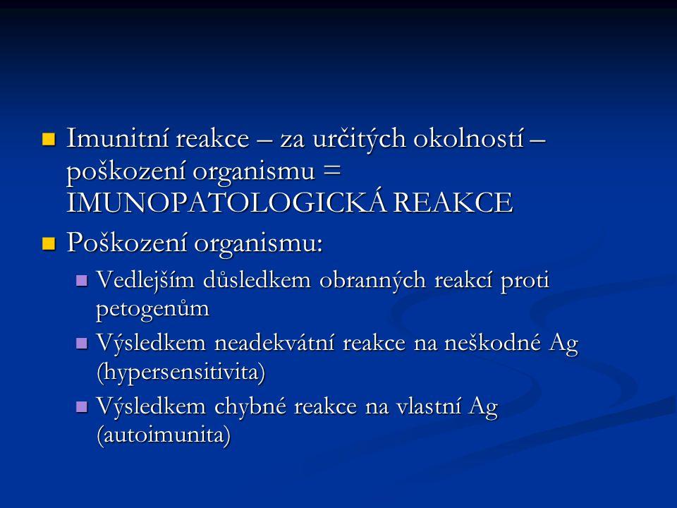 Imunitní reakce – za určitých okolností – poškození organismu = IMUNOPATOLOGICKÁ REAKCE