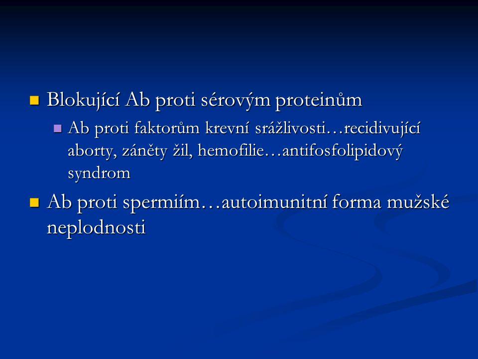 Blokující Ab proti sérovým proteinům