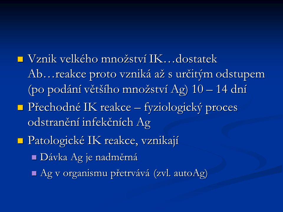 Přechodné IK reakce – fyziologický proces odstranění infekčních Ag