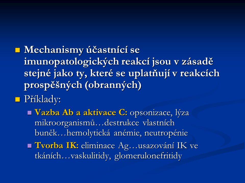 Mechanismy účastnící se imunopatologických reakcí jsou v zásadě stejné jako ty, které se uplatňují v reakcích prospěšných (obranných)