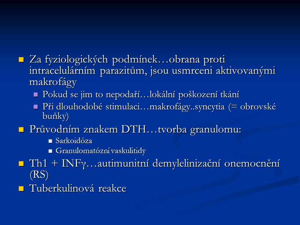 Průvodním znakem DTH…tvorba granulomu: