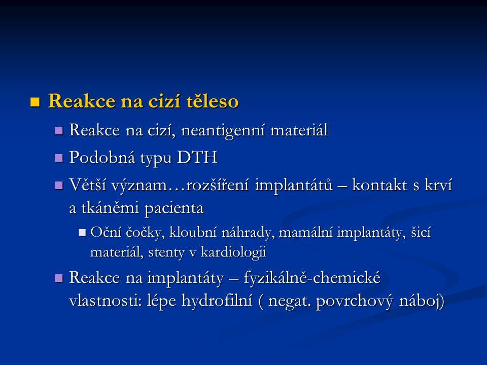 Reakce na cizí těleso Reakce na cizí, neantigenní materiál