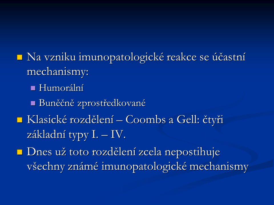 Na vzniku imunopatologické reakce se účastní mechanismy: