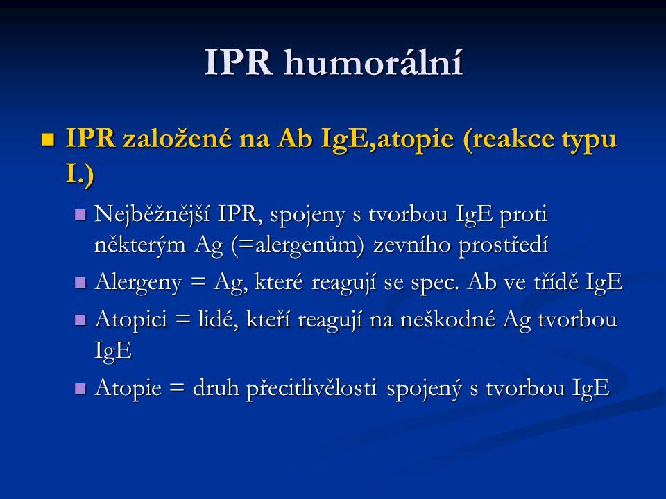 IPR humorální IPR založené na Ab IgE,atopie (reakce typu I.)