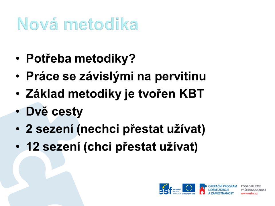 Nová metodika Potřeba metodiky Práce se závislými na pervitinu