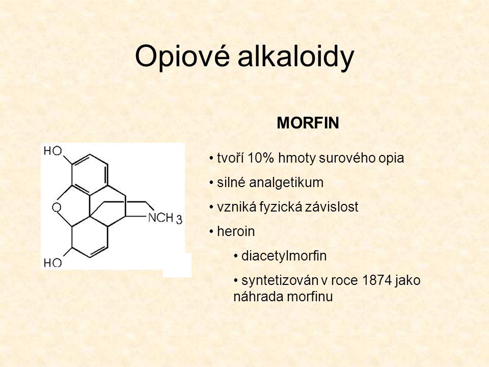 Opiové alkaloidy MORFIN tvoří 10% hmoty surového opia