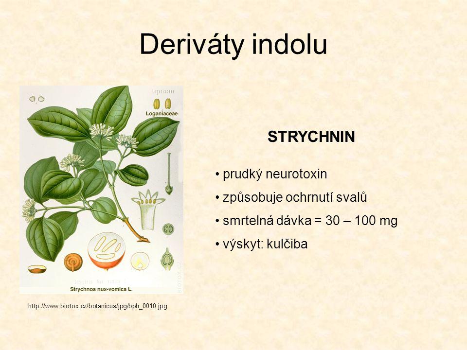 Deriváty indolu STRYCHNIN prudký neurotoxin způsobuje ochrnutí svalů