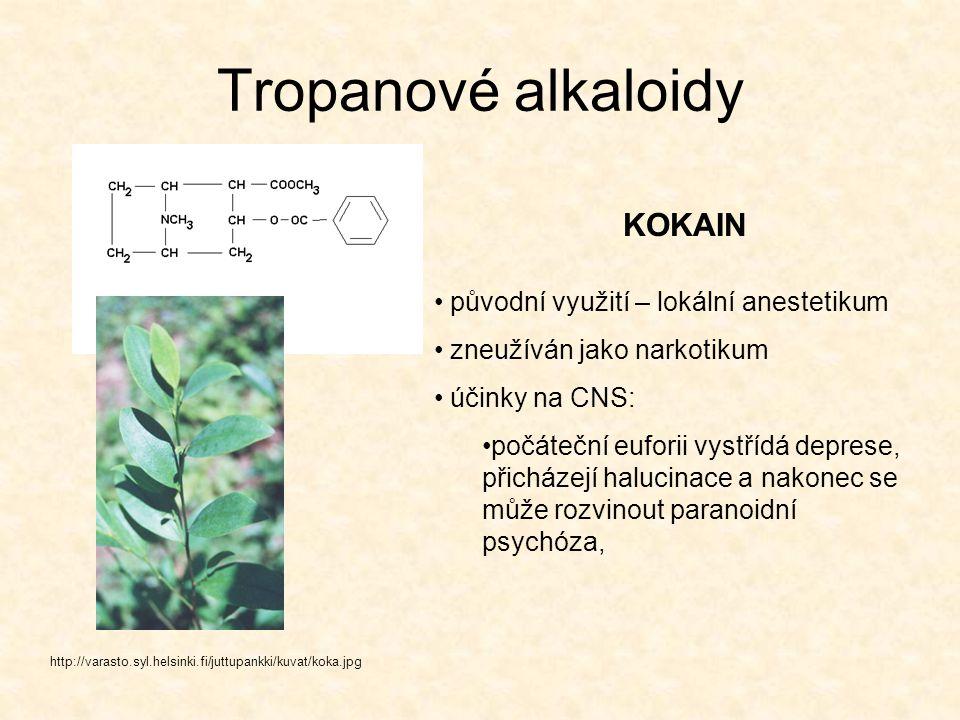 Tropanové alkaloidy KOKAIN původní využití – lokální anestetikum