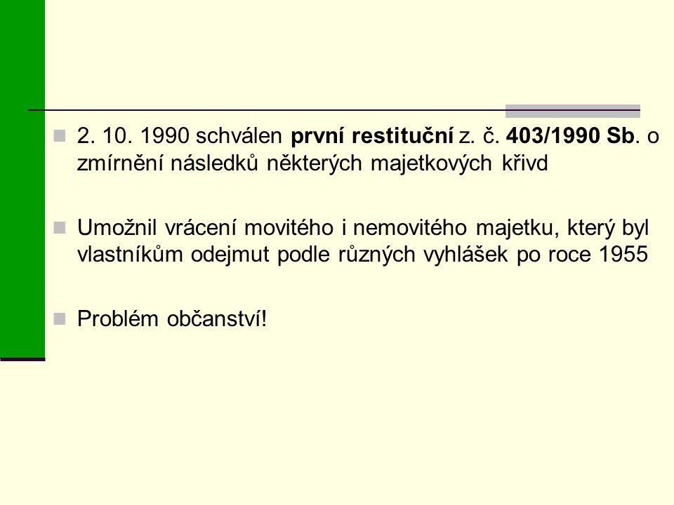 2. 10. 1990 schválen první restituční z. č. 403/1990 Sb
