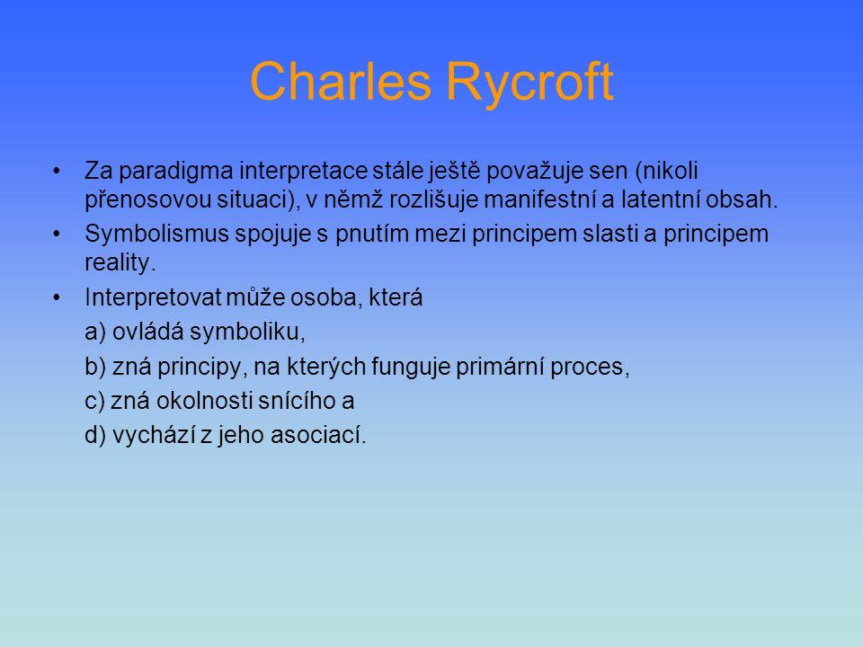 Charles Rycroft Za paradigma interpretace stále ještě považuje sen (nikoli přenosovou situaci), v němž rozlišuje manifestní a latentní obsah.