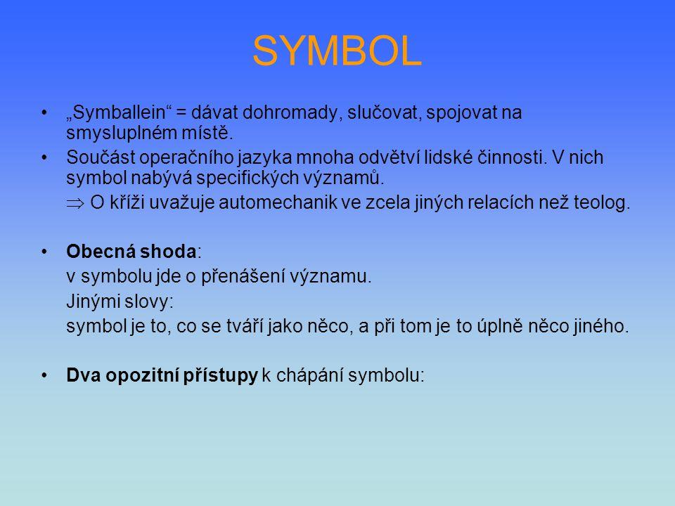 """SYMBOL """"Symballein = dávat dohromady, slučovat, spojovat na smysluplném místě."""