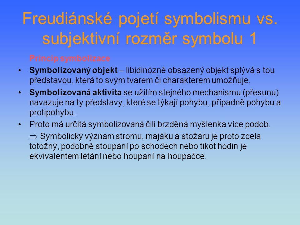 Freudiánské pojetí symbolismu vs. subjektivní rozměr symbolu 1