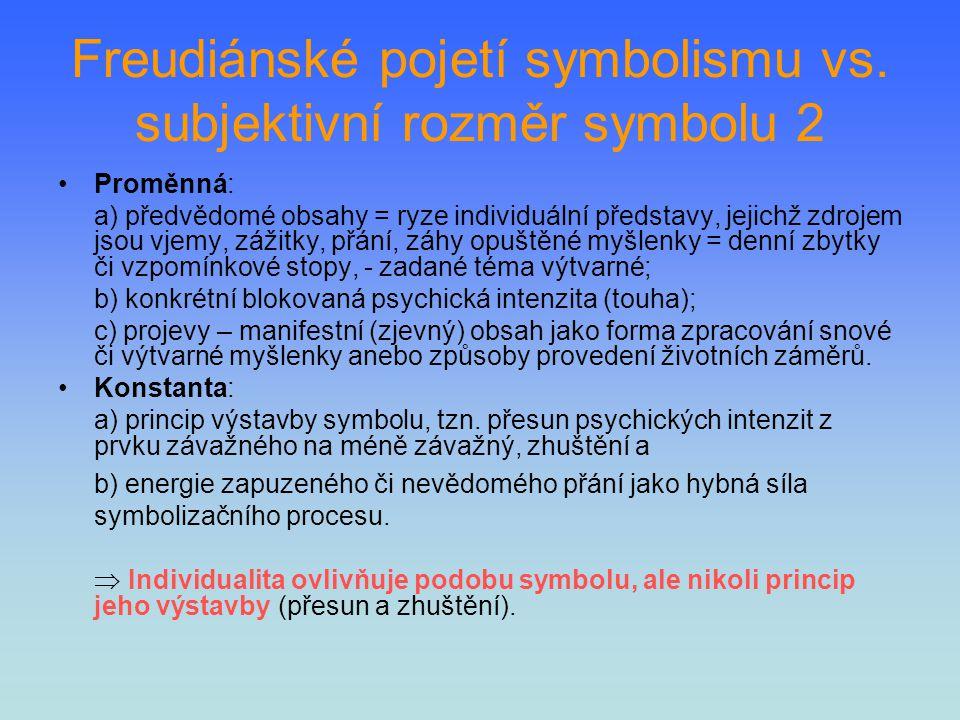 Freudiánské pojetí symbolismu vs. subjektivní rozměr symbolu 2