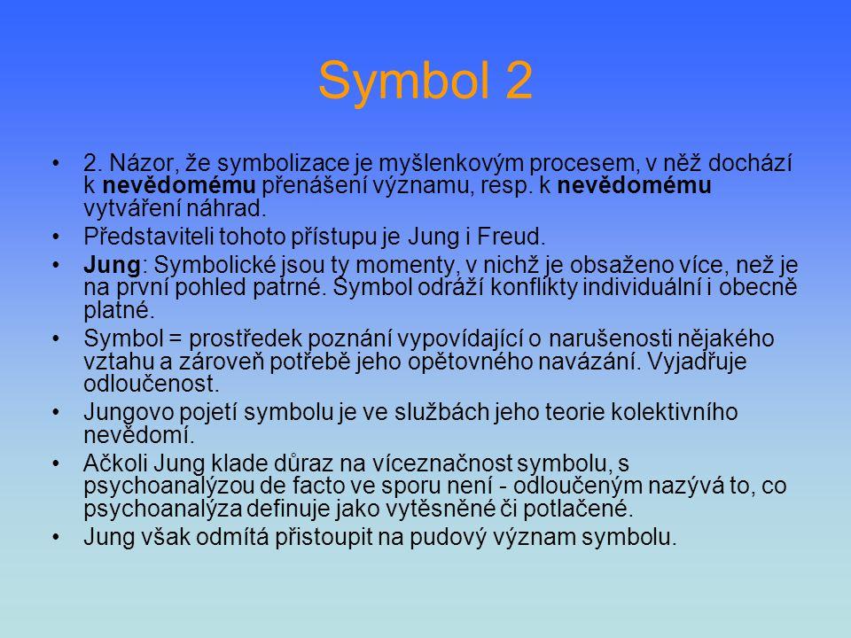 Symbol 2 2. Názor, že symbolizace je myšlenkovým procesem, v něž dochází k nevědomému přenášení významu, resp. k nevědomému vytváření náhrad.