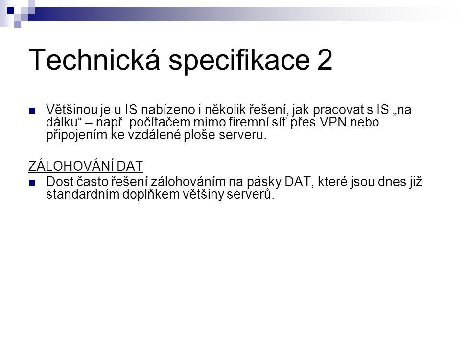 Technická specifikace 2