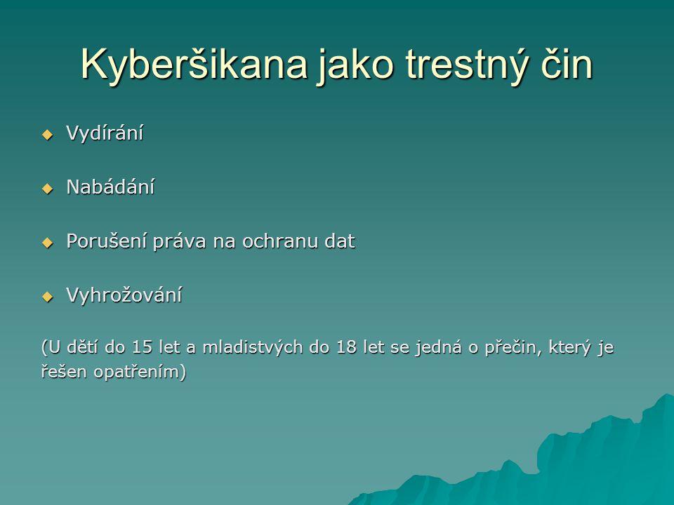 Kyberšikana jako trestný čin