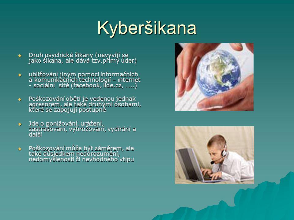 Kyberšikana Druh psychické šikany (nevyvíjí se jako šikana, ale dává tzv.přímý úder)