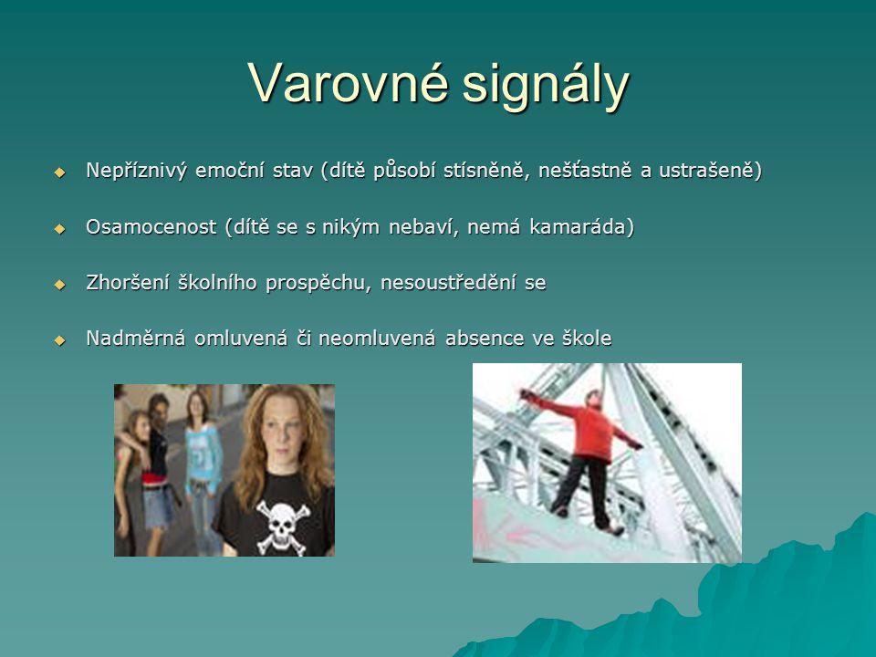 Varovné signály Nepříznivý emoční stav (dítě působí stísněně, nešťastně a ustrašeně) Osamocenost (dítě se s nikým nebaví, nemá kamaráda)
