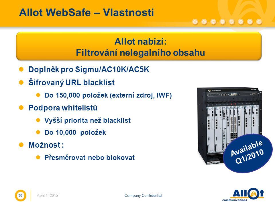 Allot WebSafe – Vlastnosti