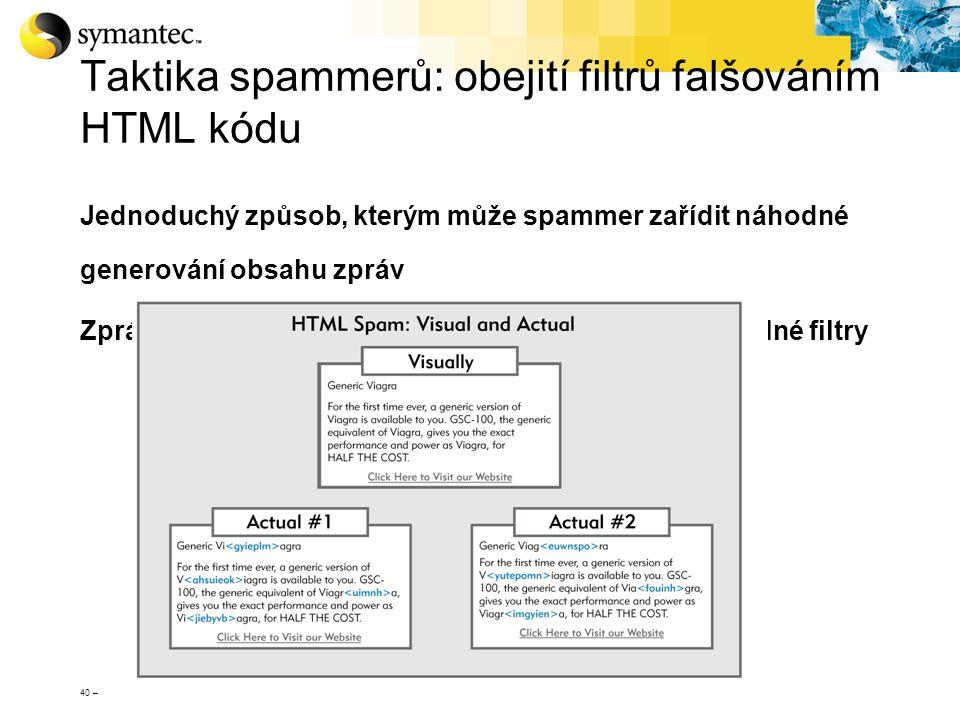 Taktika spammerů: obejití filtrů falšováním HTML kódu