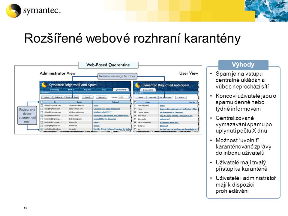 Rozšířené webové rozhraní karantény
