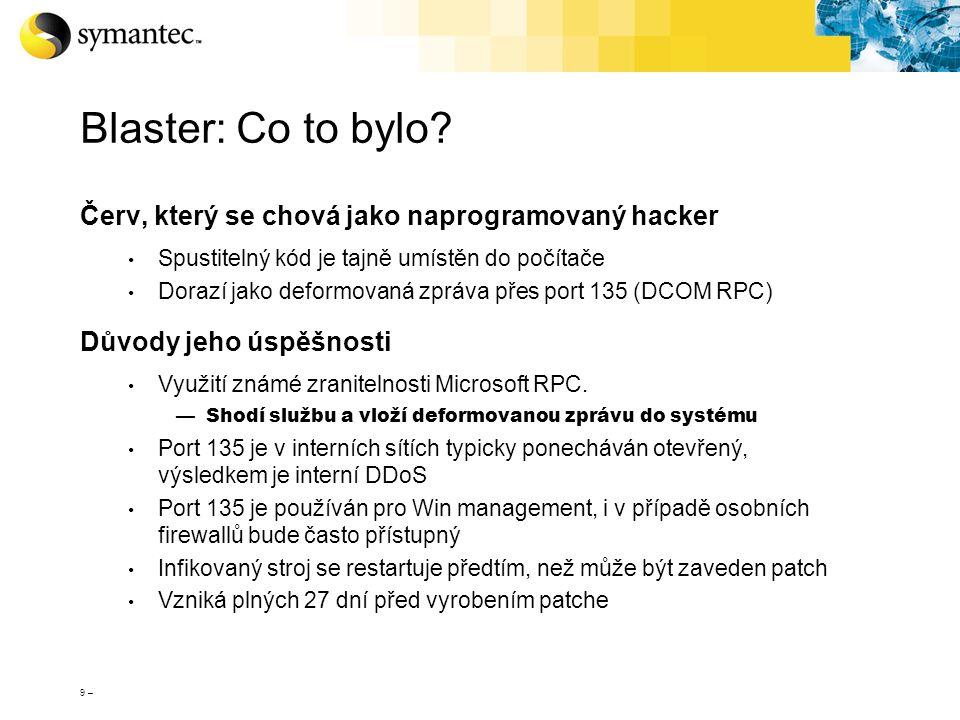 Blaster: Co to bylo Červ, který se chová jako naprogramovaný hacker