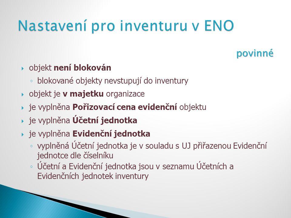 Nastavení pro inventuru v ENO