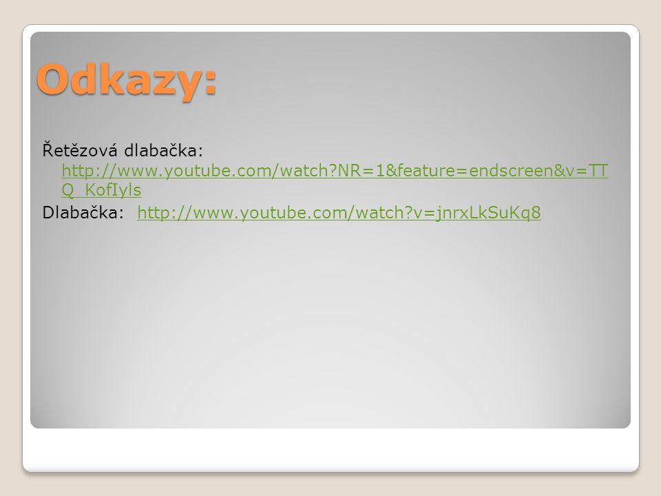 Odkazy: Řetězová dlabačka: http://www.youtube.com/watch NR=1&feature=endscreen&v=TT Q_KofIyls Dlabačka: http://www.youtube.com/watch v=jnrxLkSuKq8
