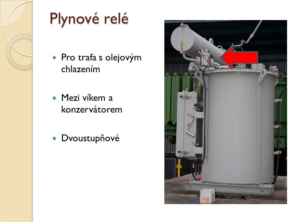 Plynové relé Pro trafa s olejovým chlazením Mezi víkem a konzervátorem