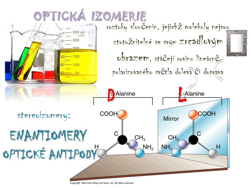 D L ENANTIOMERY OPTICKÉ ANTIPODY stereoizomery: OPTICKÁ IZOMERIE