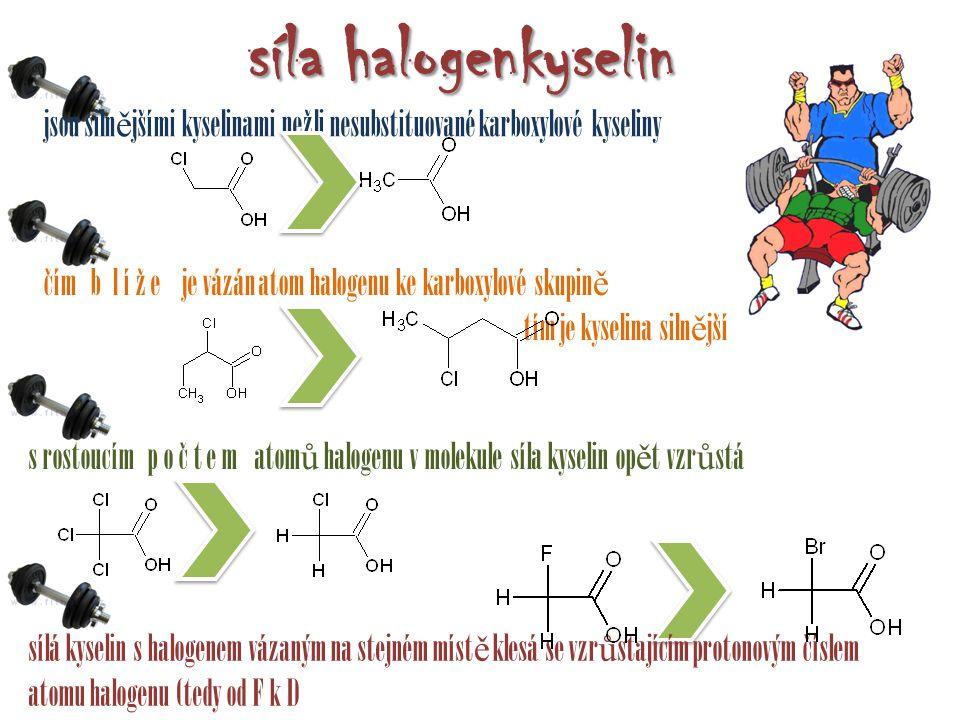 síla halogenkyselin jsou silnějšími kyselinami nežli nesubstituované karboxylové kyseliny.