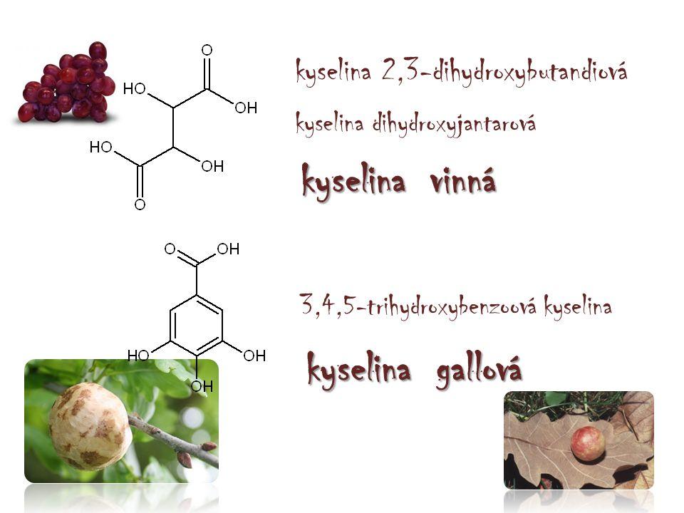 kyselina vinná kyselina gallová kyselina 2,3-dihydroxybutandiová