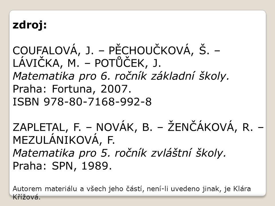 COUFALOVÁ, J. – PĚCHOUČKOVÁ, Š. – LÁVIČKA, M. – POTŮČEK, J.