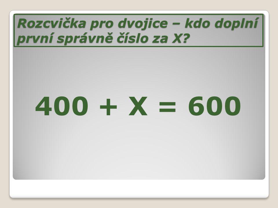 Rozcvička pro dvojice – kdo doplní první správně číslo za X
