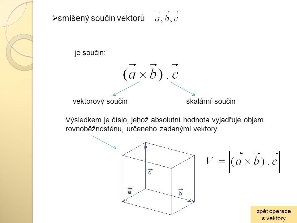 smíšený součin vektorů
