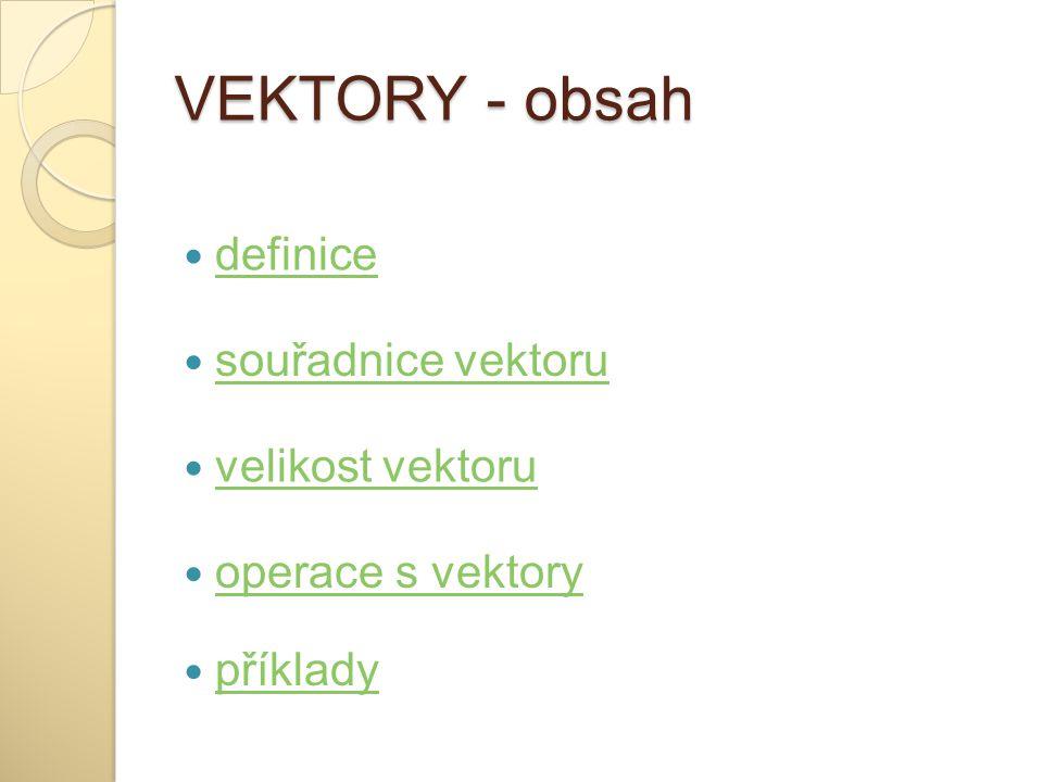 VEKTORY - obsah definice souřadnice vektoru velikost vektoru