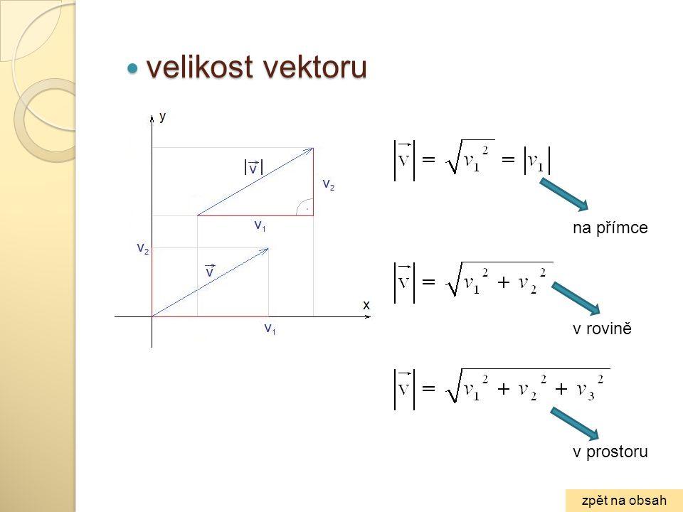 velikost vektoru na přímce v rovině v prostoru zpět na obsah