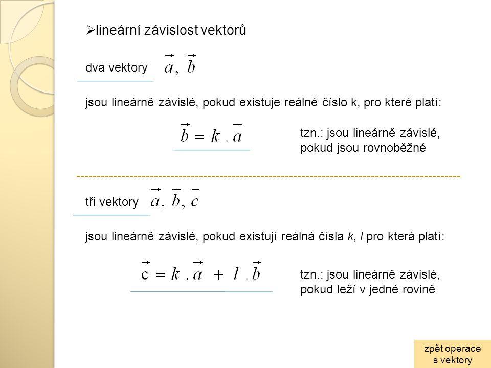 lineární závislost vektorů