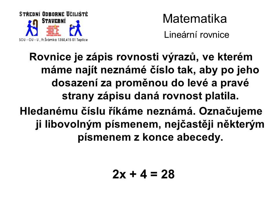 Matematika Lineární rovnice