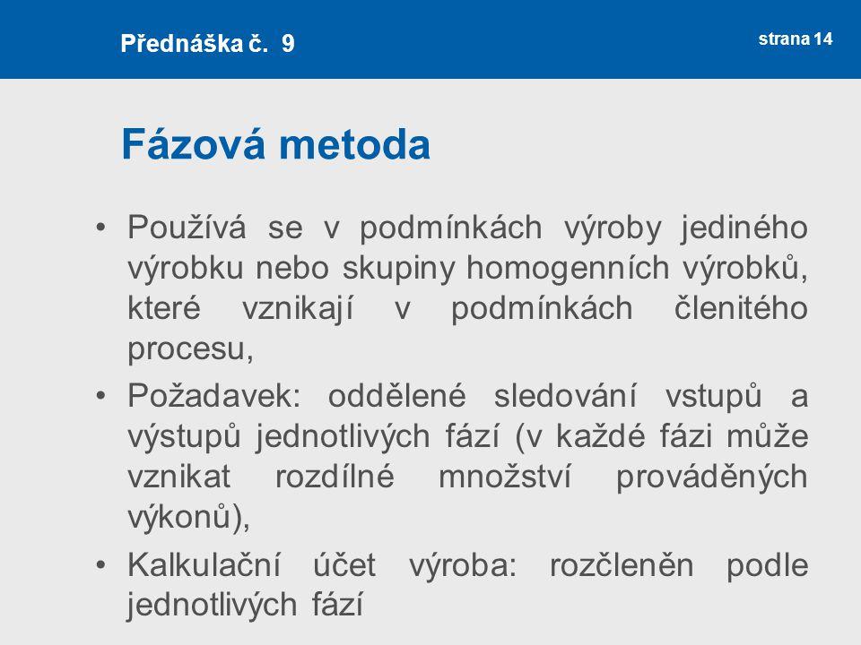 Přednáška č. 9 Fázová metoda.