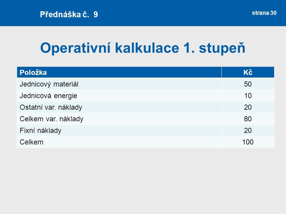 Operativní kalkulace 1. stupeň