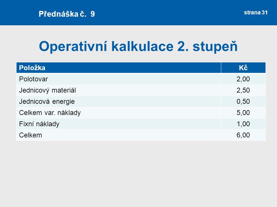 Operativní kalkulace 2. stupeň