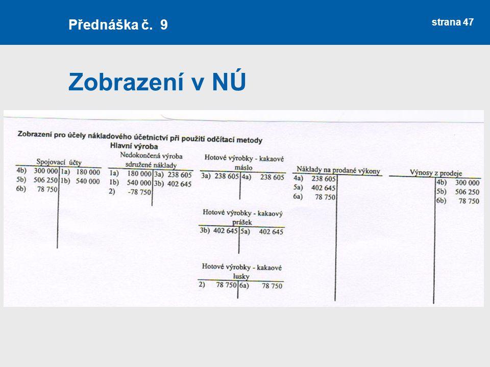 Přednáška č. 9 Zobrazení v NÚ