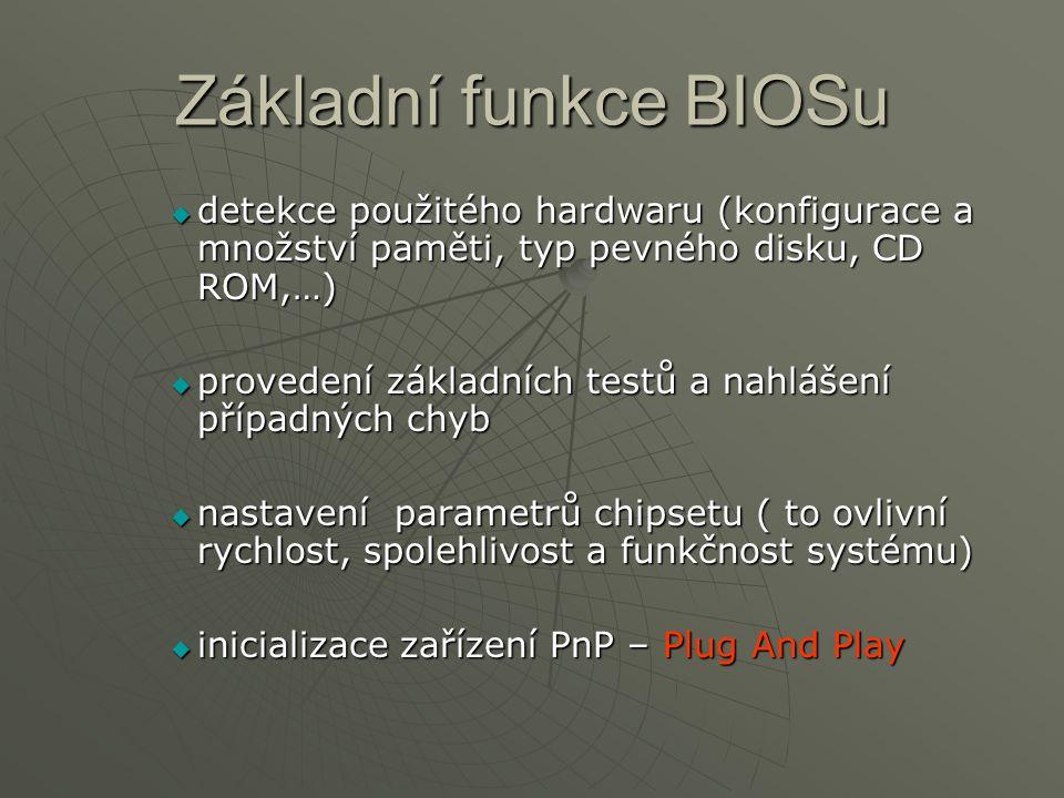 Základní funkce BIOSu detekce použitého hardwaru (konfigurace a množství paměti, typ pevného disku, CD ROM,…)