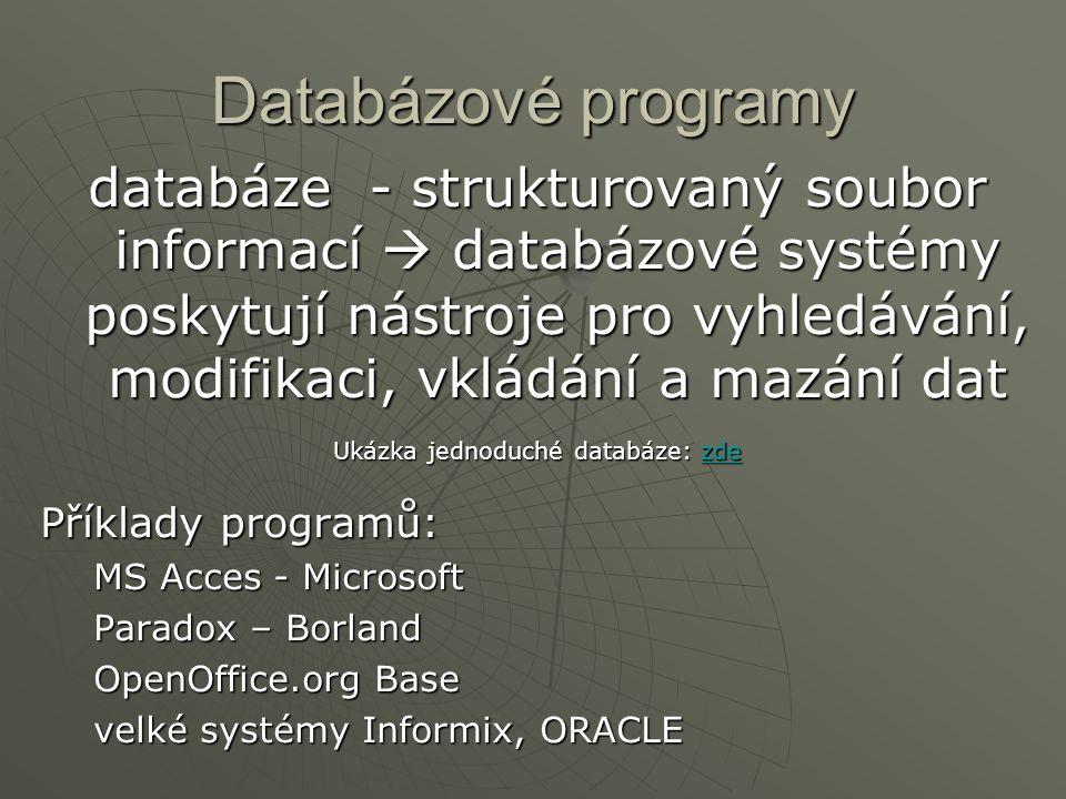 Ukázka jednoduché databáze: zde