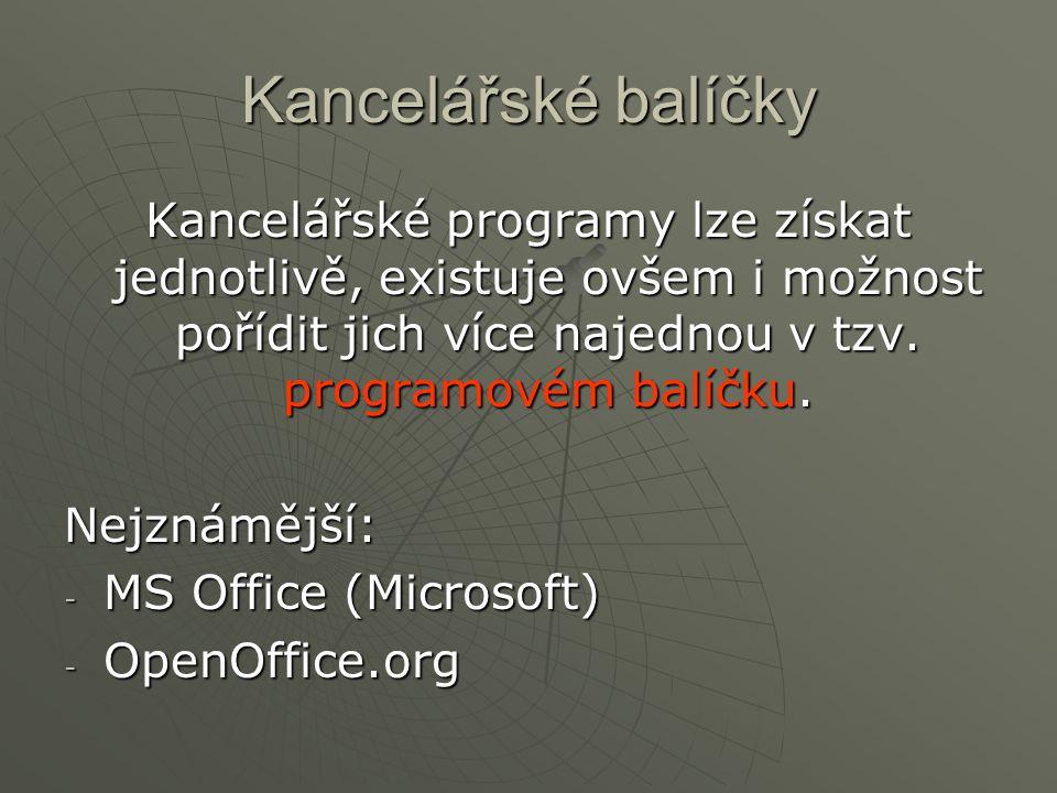 Kancelářské balíčky Kancelářské programy lze získat jednotlivě, existuje ovšem i možnost pořídit jich více najednou v tzv. programovém balíčku.