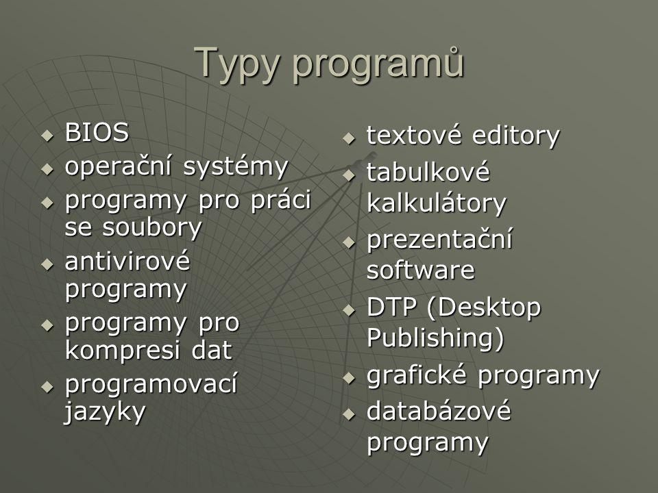 Typy programů BIOS operační systémy programy pro práci se soubory