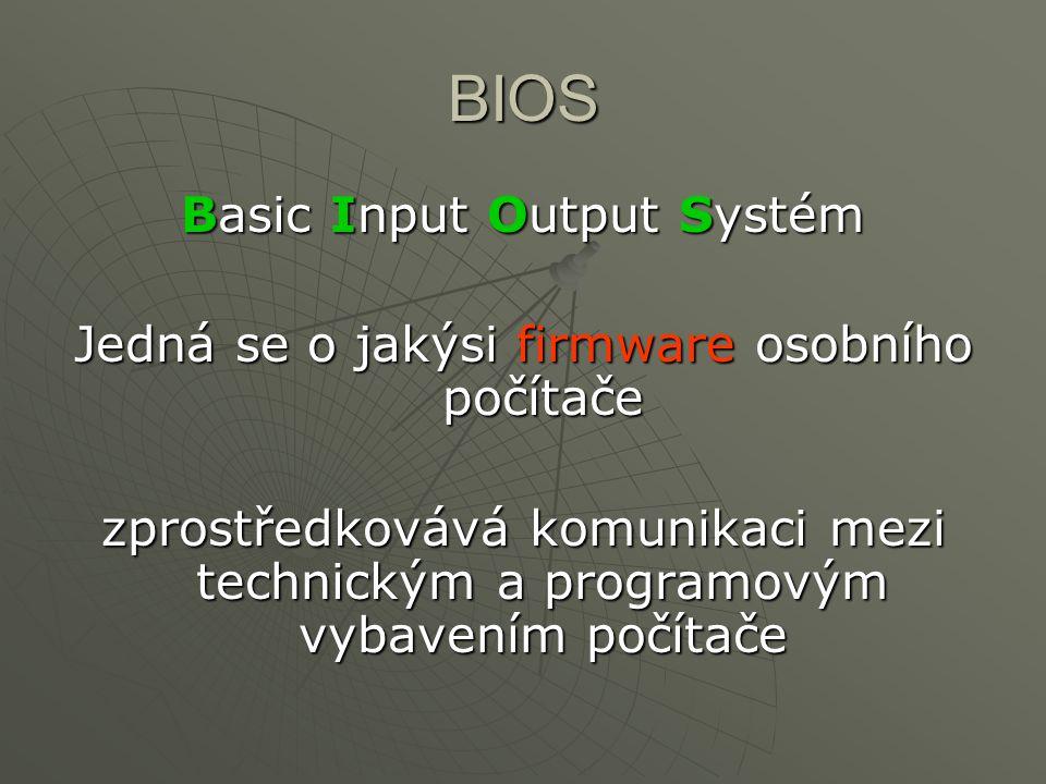 BIOS Basic Input Output Systém