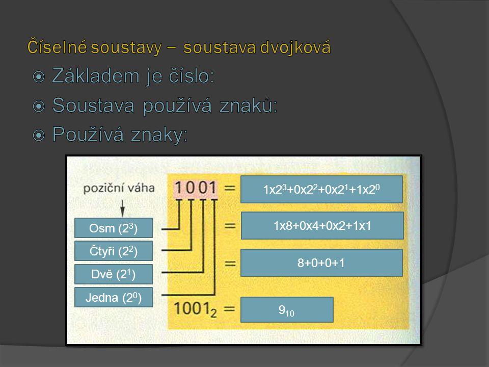 Číselné soustavy – soustava dvojková