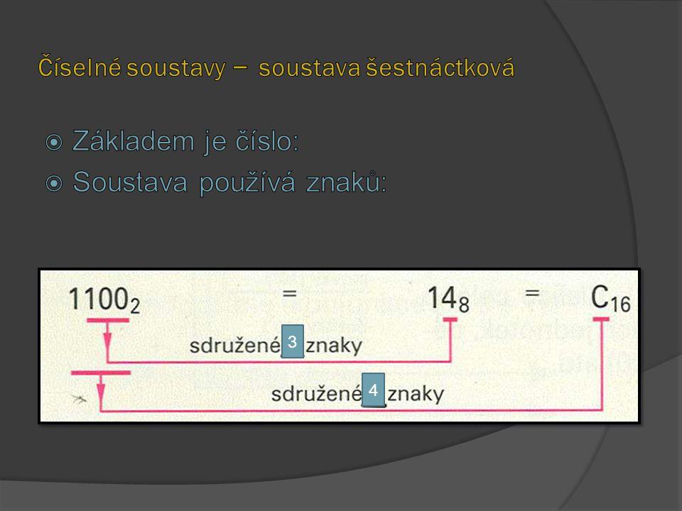 Číselné soustavy – soustava šestnáctková